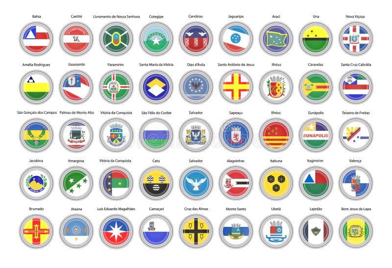 Conjunto de iconos del vector Banderas del estado de Bahía, el Brasil stock de ilustración