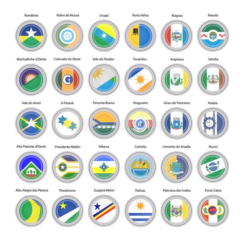 Conjunto de iconos del vector Banderas de los estados de Rondonia, de Tocantins y de Alagoas, el Brasil ilustración del vector