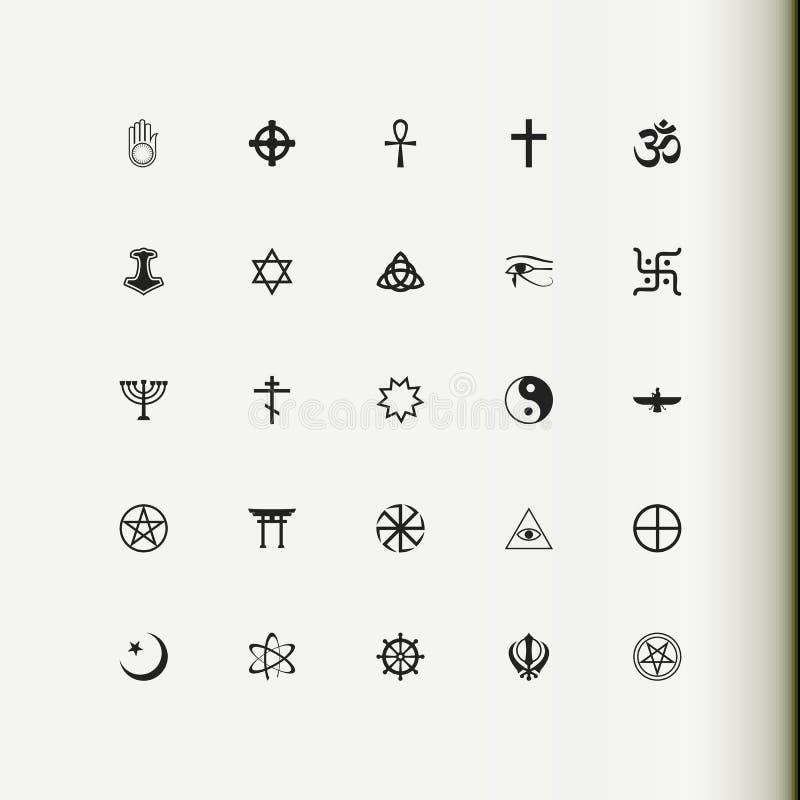 Conjunto de iconos del vector Religión, espiritualidad, ocultismo stock de ilustración