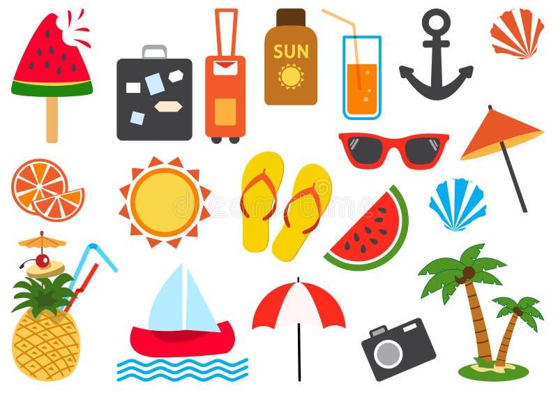 Conjunto de iconos del verano Ilustraci?n del vector stock de ilustración