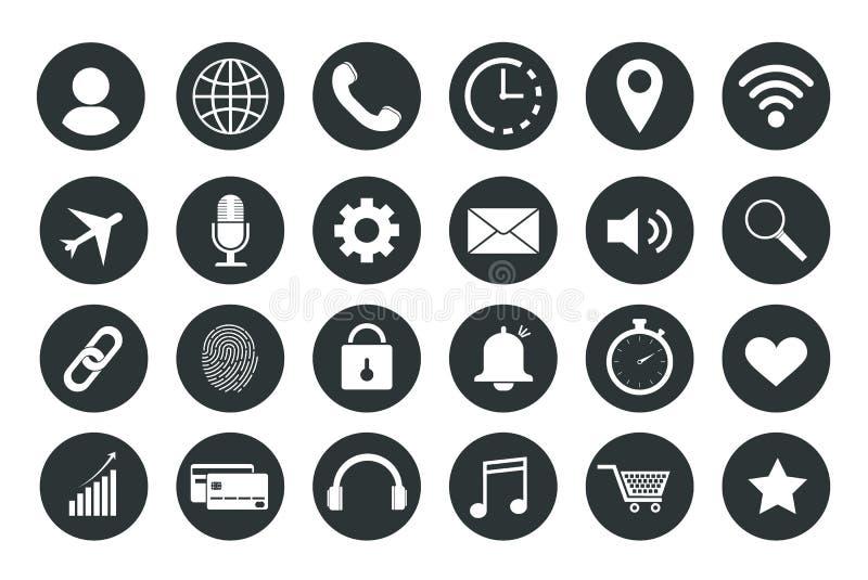 Conjunto de iconos del Web Iconos para el teléfono, para el sitio, para el ordenador libre illustration