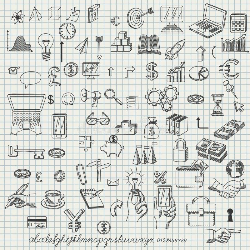 Conjunto de iconos drenados mano stock de ilustración