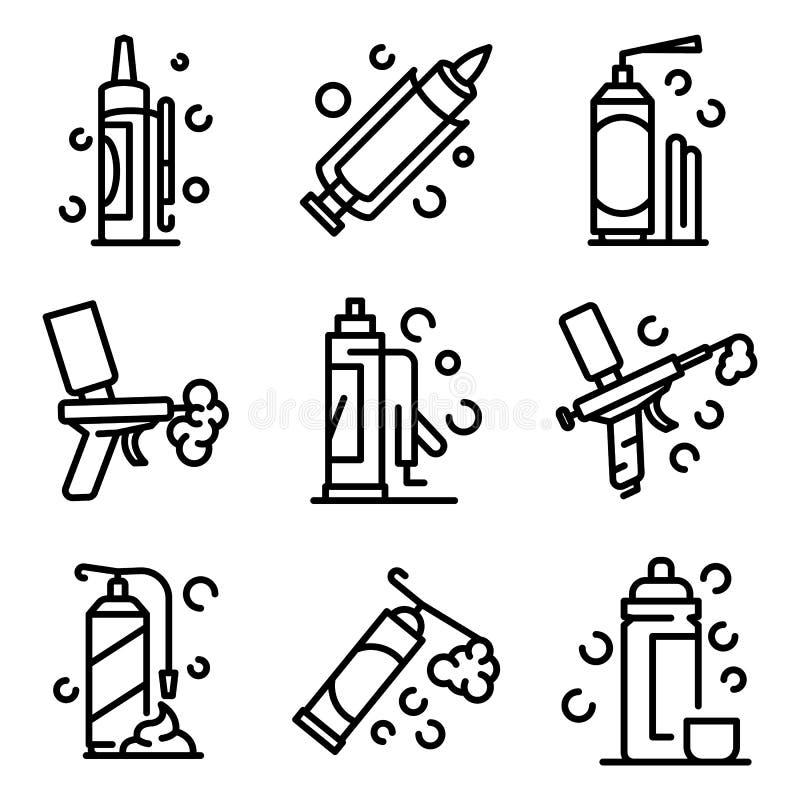 Conjunto de iconos de espuma de poliuretano, estilo de esquema ilustración del vector