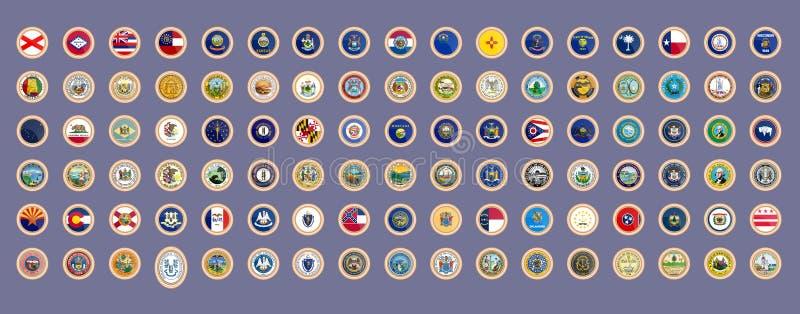 Conjunto de iconos Estados de las banderas y de los sellos de los E.E.U.U. ilustración del vector