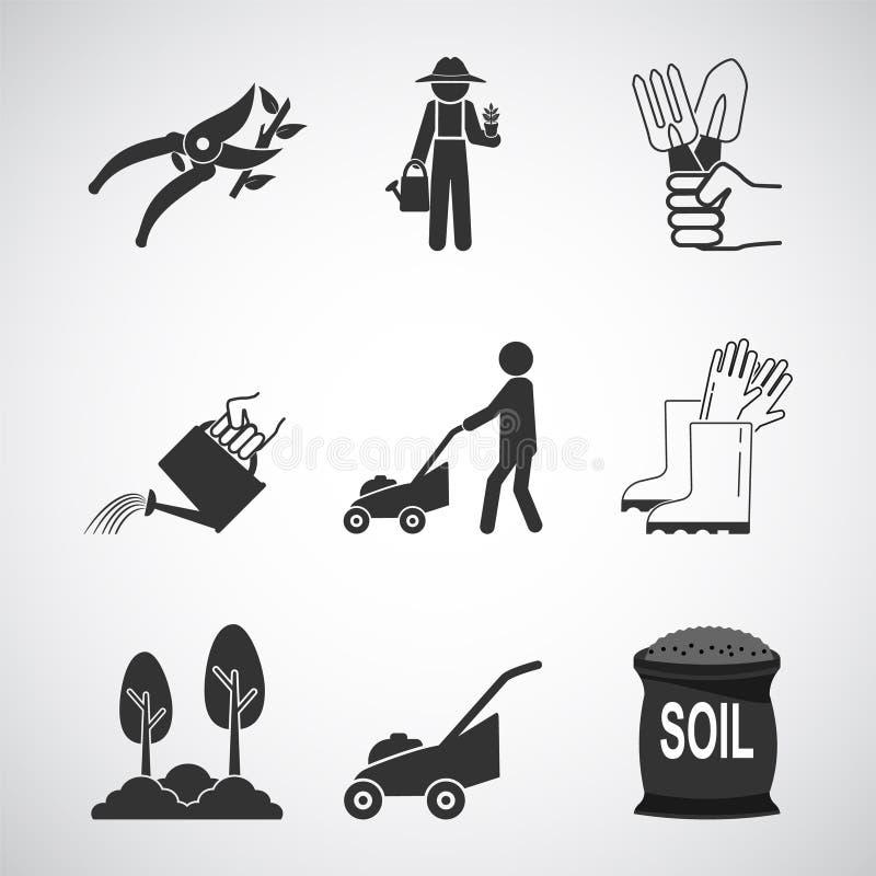 Conjunto de iconos Jardinería y Plantación stock de ilustración