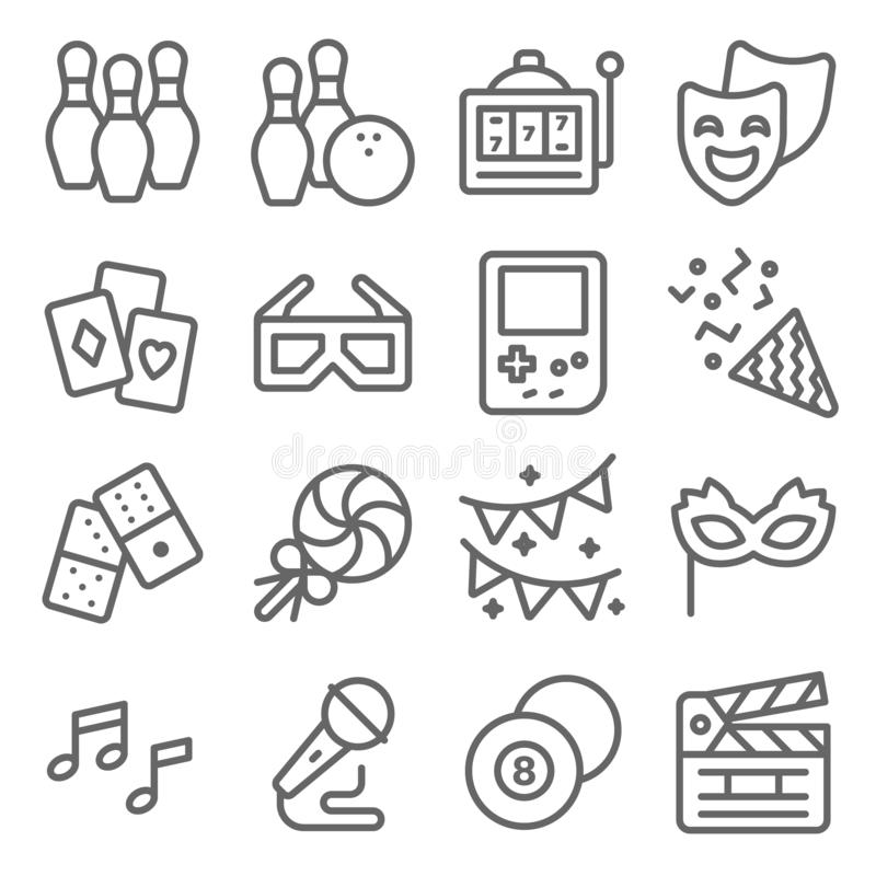Conjunto de iconos de línea del vector de entretenimiento. Contiene iconos como Confetti, Máquina tragamonedas, Bowling, máscar ilustración del vector