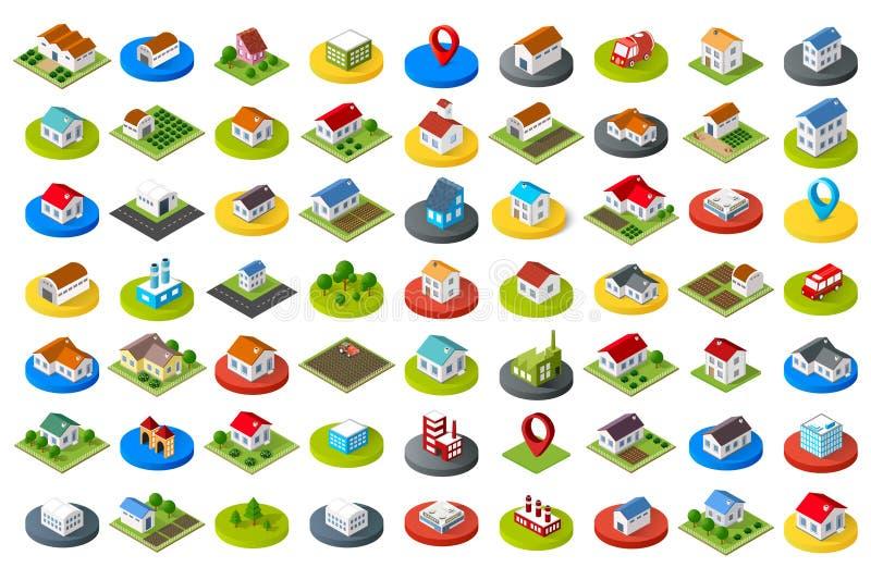 Conjunto de iconos de la ciudad ilustración del vector