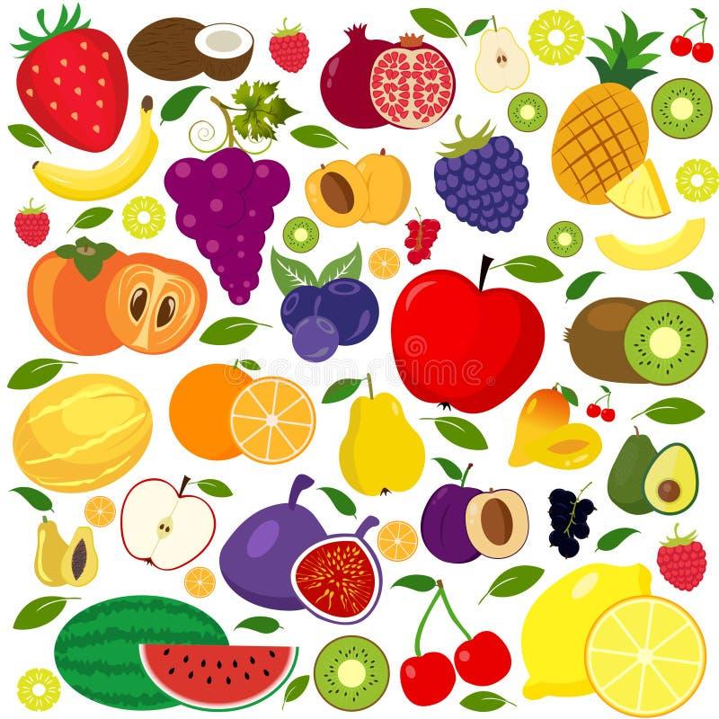 Conjunto de iconos de las frutas y verduras libre illustration