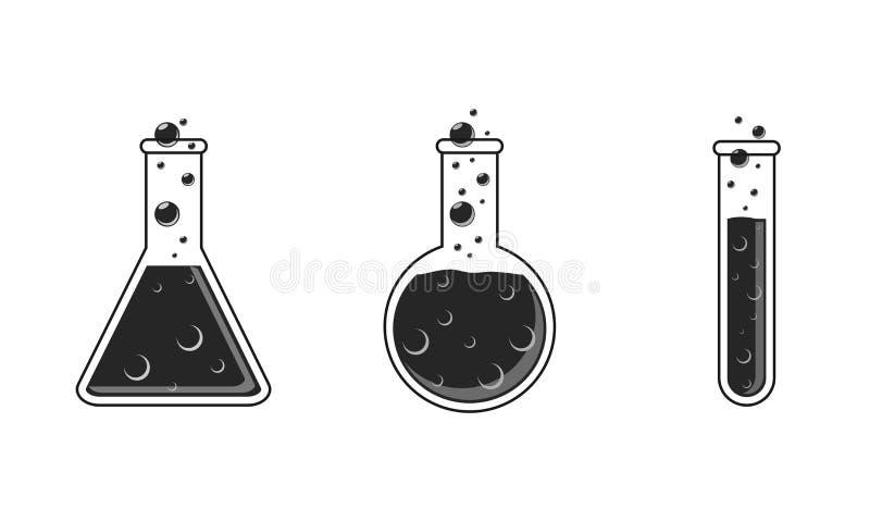 Conjunto de iconos Tubo de ensayo, parte inferior redonda y frascos cónicos de color negro Aislado en el fondo blanco stock de ilustración