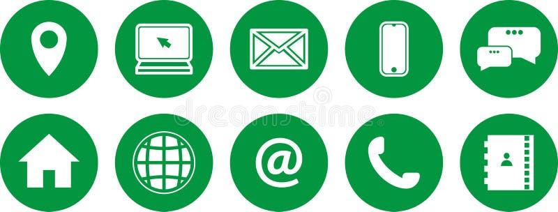 Conjunto de iconos verdes Iconos de las comunicaciones ?ntrenos en contacto con los iconos libre illustration