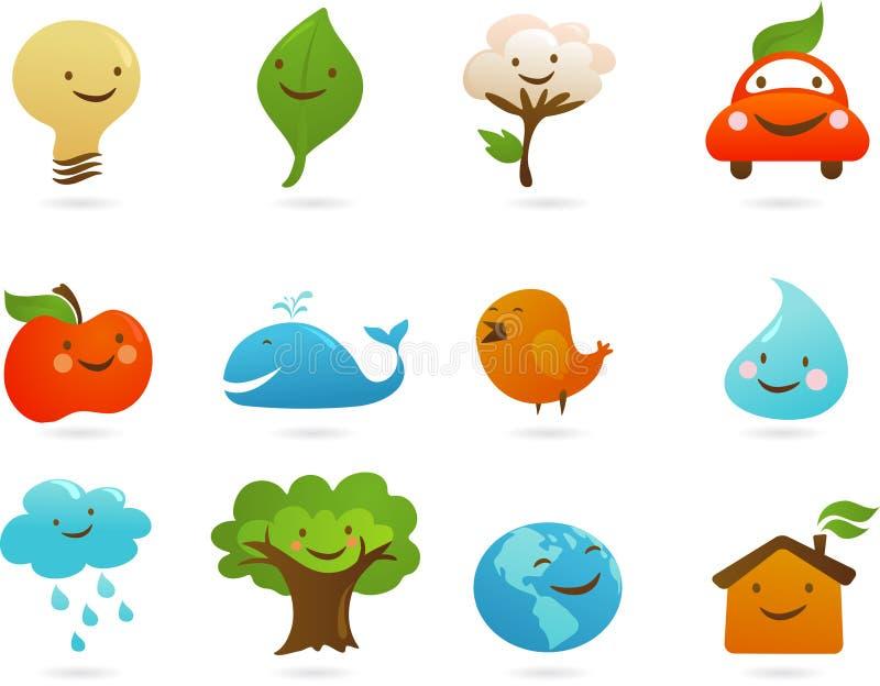 Conjunto de iconos y de ilustraciones lindos de la ecología stock de ilustración