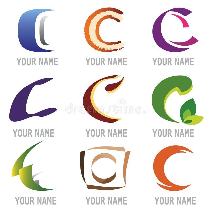 Conjunto de iconos y de la letra C de los elementos de la insignia libre illustration