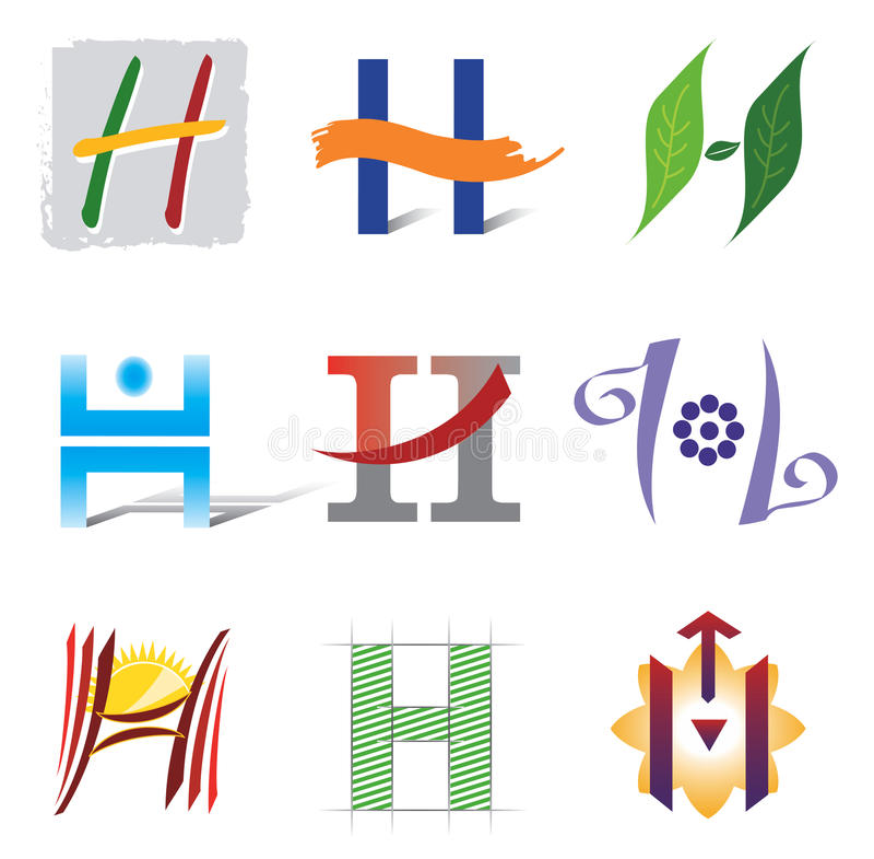 Conjunto de iconos y de la letra H de los elementos de la insignia ilustración del vector