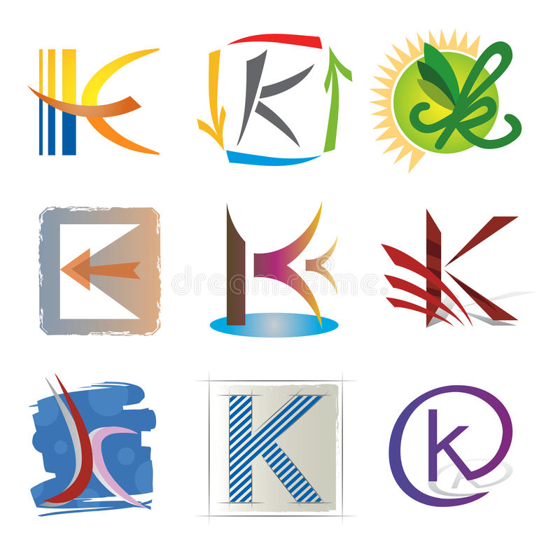 Conjunto de iconos y de la letra K de los elementos libre illustration