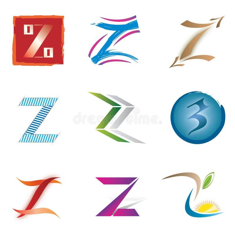 Conjunto de iconos y de la letra Z de los elementos de la insignia ilustración del vector