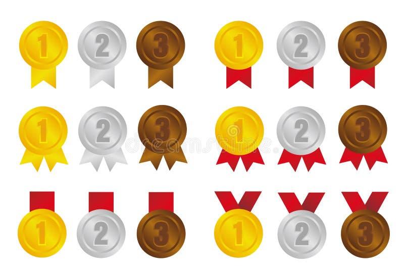 Conjunto de ilustrações do ícone da medalha de classificação / 3 cores / de 1º lugar a 3º lugar ilustração stock