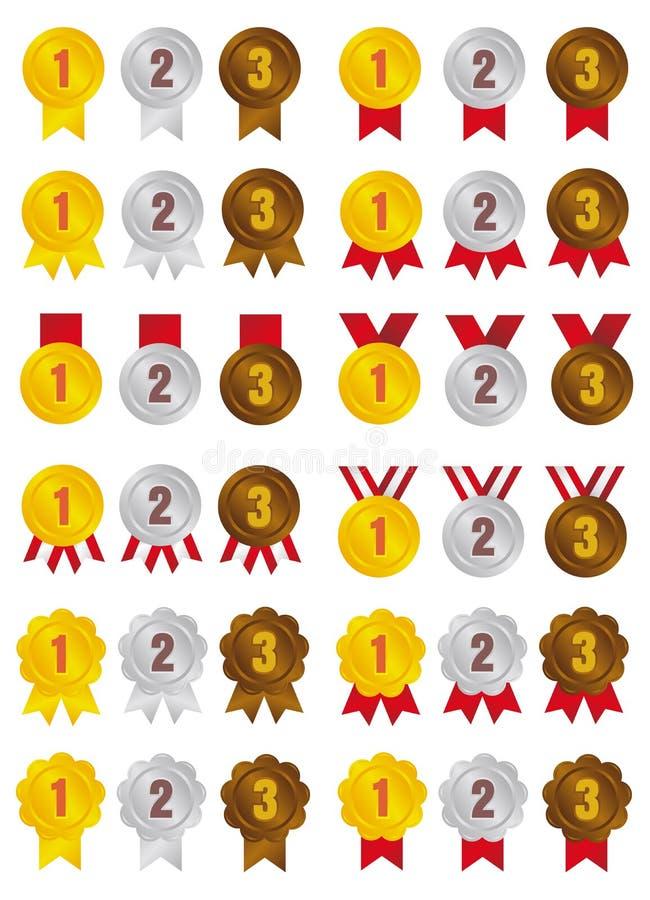 Conjunto de ilustrações do ícone da medalha de classificação / 3 cores / de 1º lugar a 3º lugar ilustração royalty free