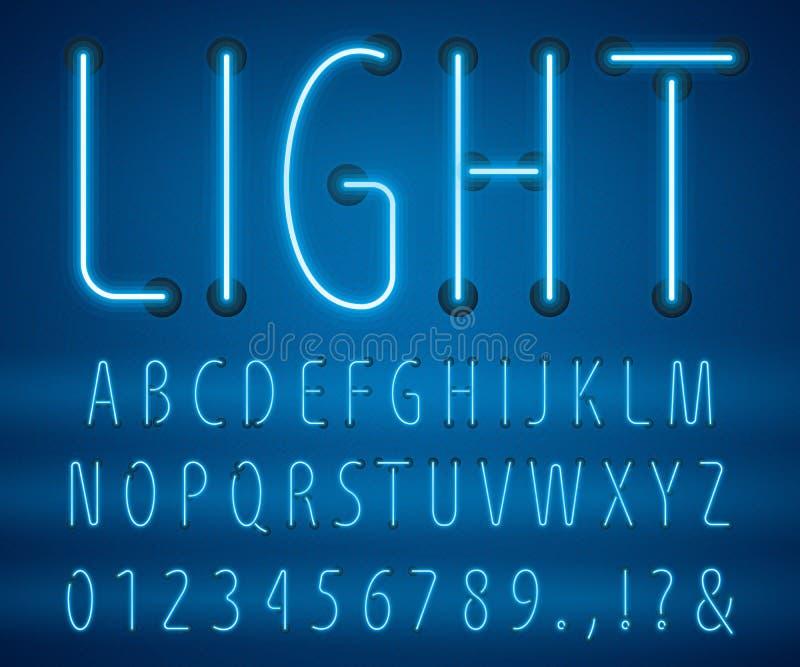 Conjunto de ilustrações de vetor de letras neon estilo linear de letras ilustração royalty free