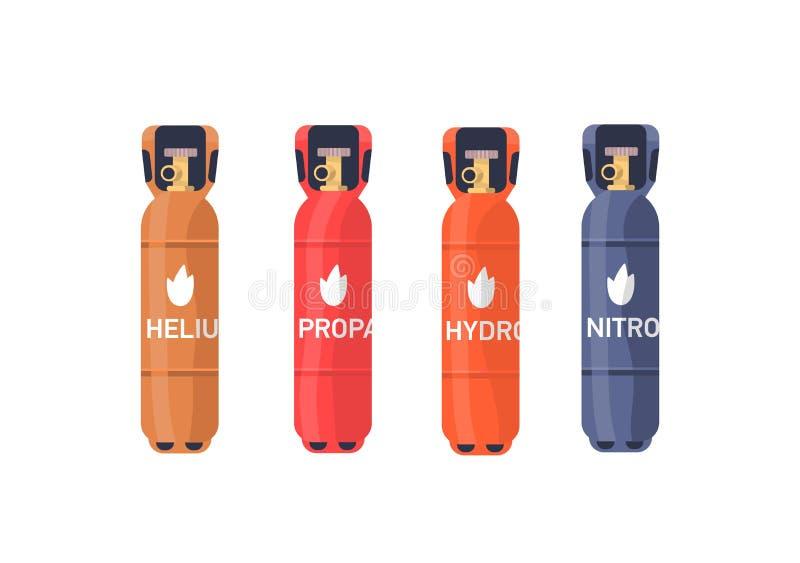 Conjunto de ilustrações de vetor plano de armazenamento de gás comprimido Hélio, propano, cilindros industriais de hidrogênio col ilustração do vetor