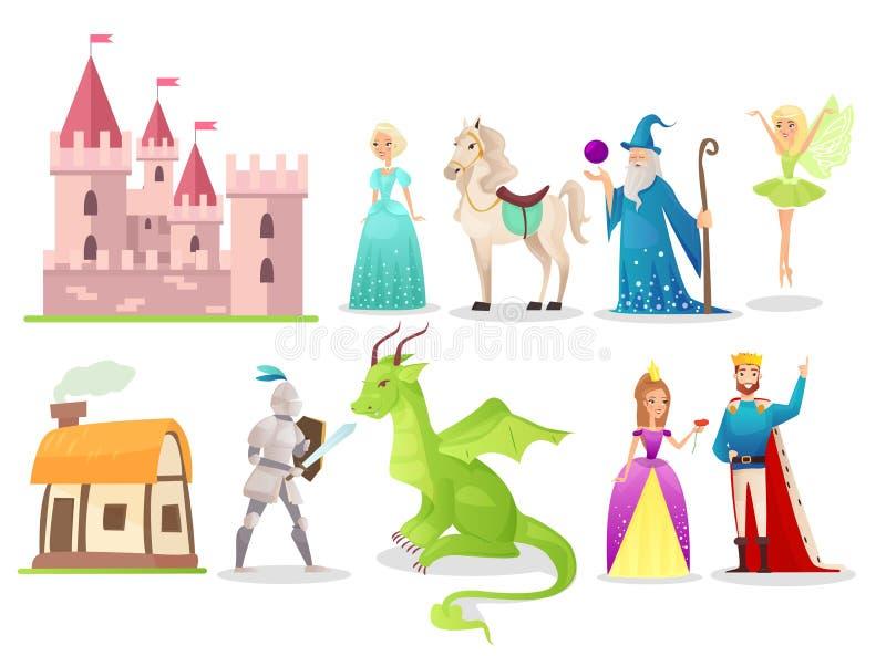 Conjunto de ilustrações de vetor plano com caracteres de fairytale Cavaleiro corajoso lutando com dragão Fada mágica e mago Carto ilustração royalty free