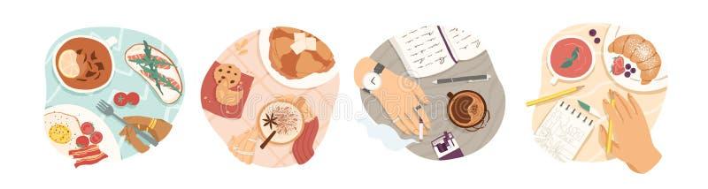Conjunto de ilustrações vetoriais de tipos Breakfast Farinha de manhã, café e chá, omelete e vista superior croissant Almoço ilustração do vetor