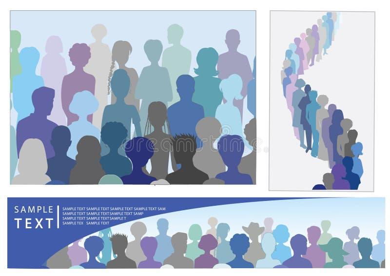 Conjunto de ilustraciones con la muchedumbre, incluyendo bandera ilustración del vector