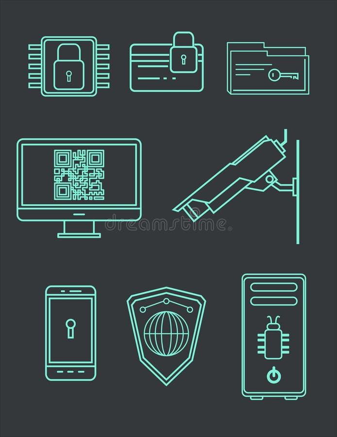 Conjunto de ilustraciones del icono Encripción y protección de datos contra cortar Ilustración del vector libre illustration