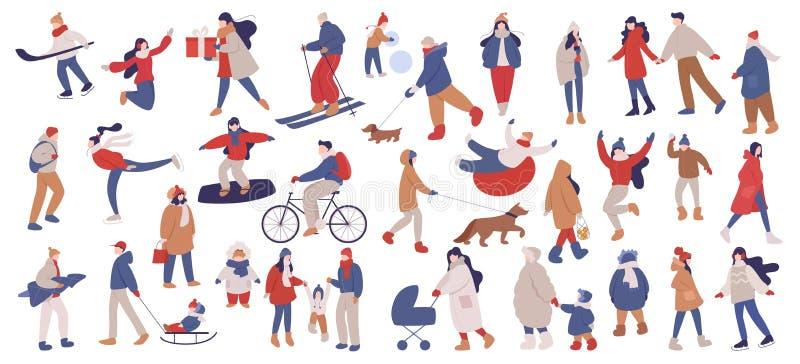 Conjunto de ilustraciones vectoriales aisladas de personas que usan ropas cálidas de invierno libre illustration