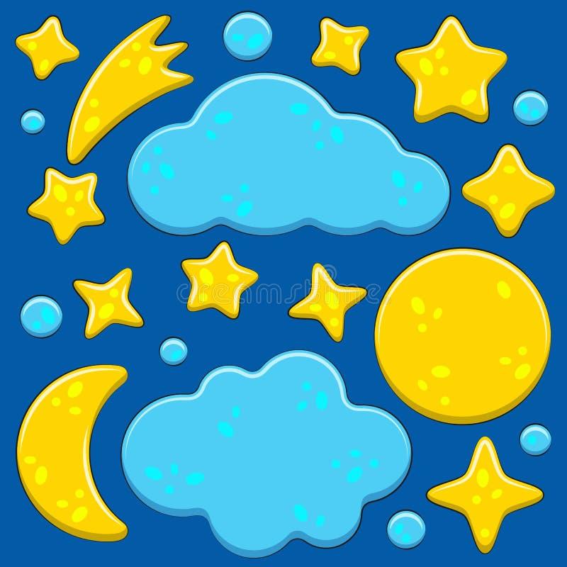 Conjunto de imagens brilhantes com o céu noturno, lua, estrelas, nuvens Objetos de vetor isolados ilustração stock