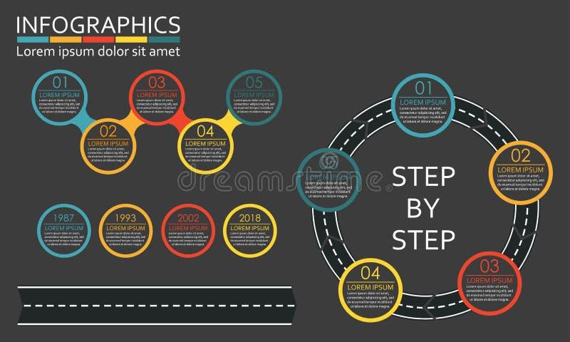 Conjunto de Infographics Camino en la forma de la flecha con pasos, opciones o niveles Ilustración del vector stock de ilustración