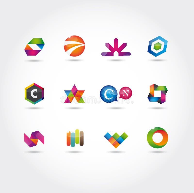 Conjunto de insignia y de iconos stock de ilustración