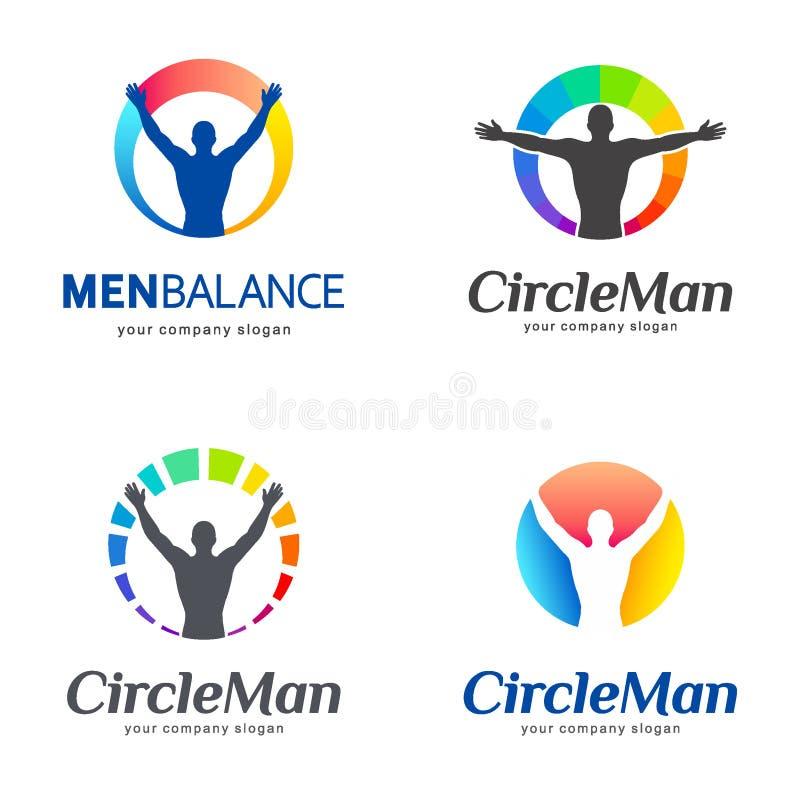Conjunto de insignias del vector Balanza de los hombres, balanza del cuerpo ilustración del vector