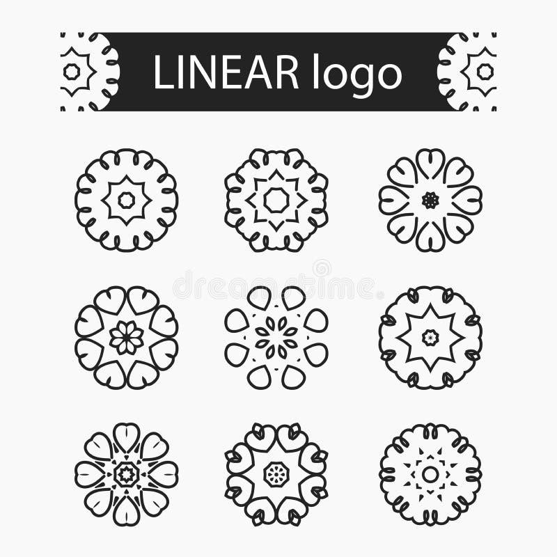 Conjunto de insignias del vector Logotipo, marca, emblema y elemento de la compañía Logotipo linear ilustración del vector