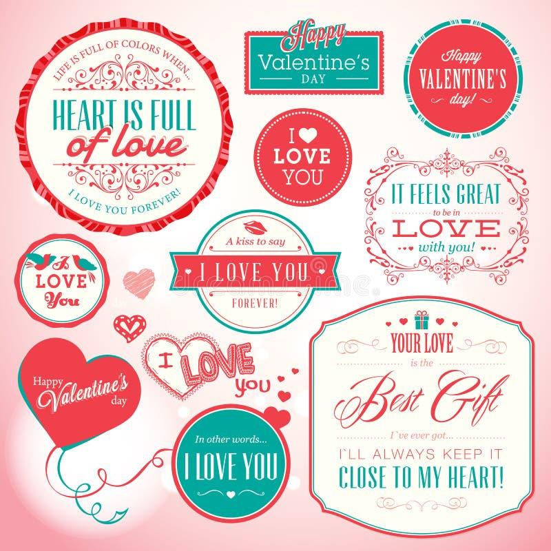 Conjunto de insignias y de elementos para el día del ` s de la tarjeta del día de San Valentín libre illustration