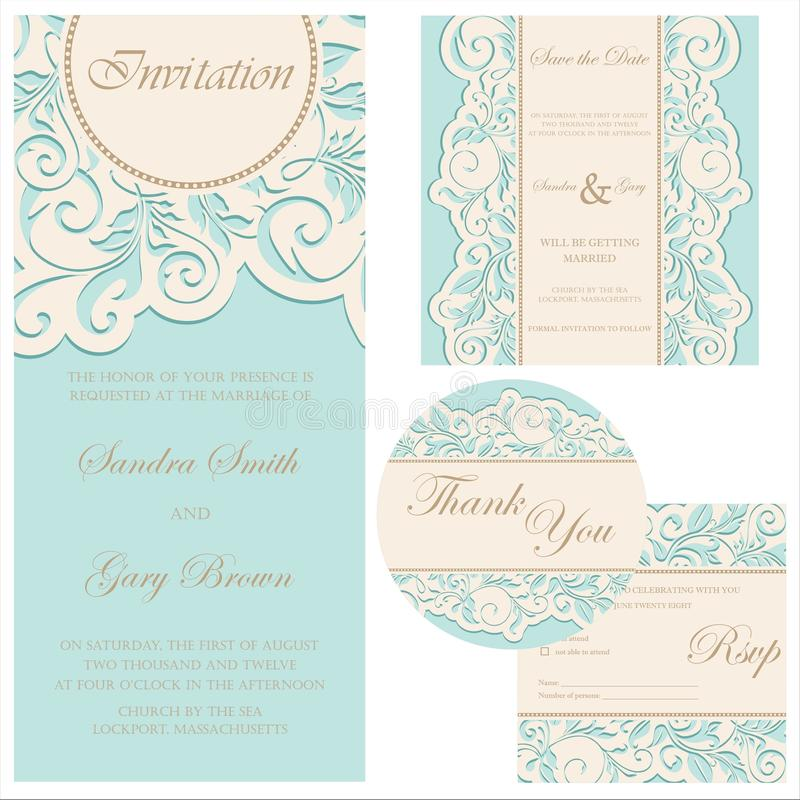 Conjunto de invitaciones de boda stock de ilustración