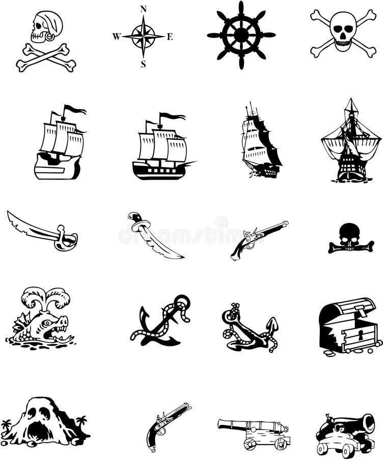 Conjunto de items del pirata stock de ilustración