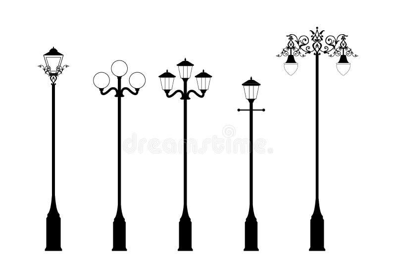 Conjunto de lámparas de calle elegantes stock de ilustración