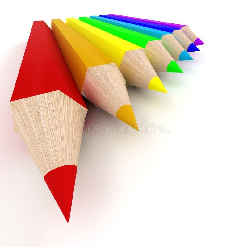 Conjunto de lápices del color. stock de ilustración
