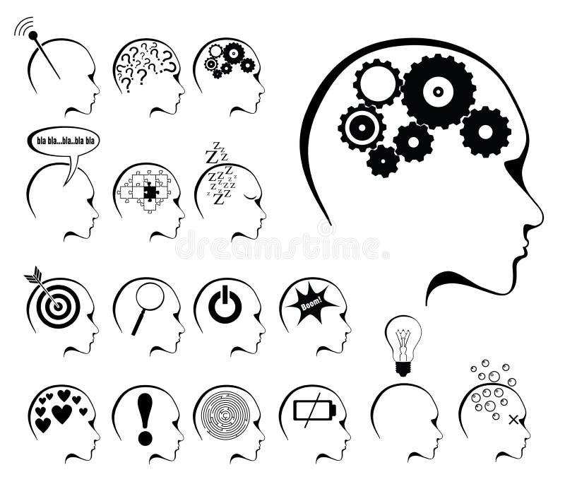 Conjunto de la actividad de cerebro y del icono de los estados stock de ilustración