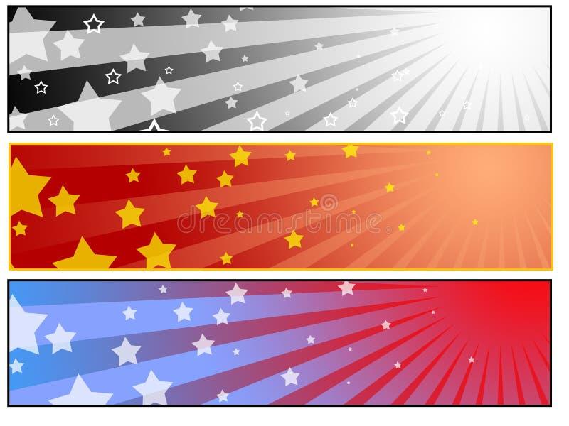 Conjunto de la bandera de la estrella de Sun ilustración del vector