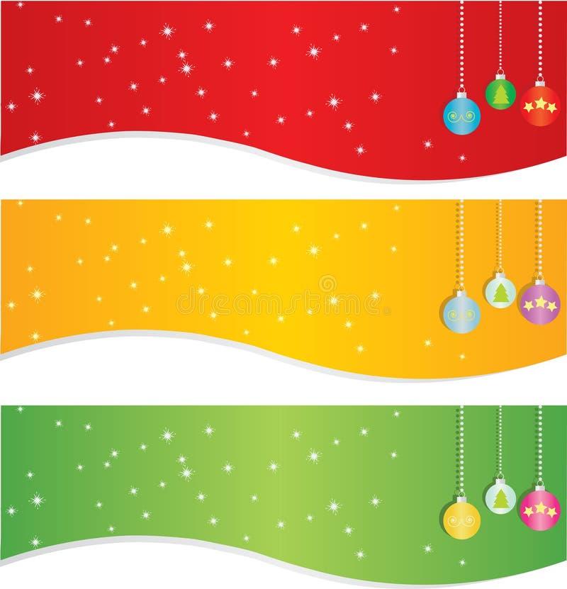 Conjunto de la bandera de la Navidad ilustración del vector