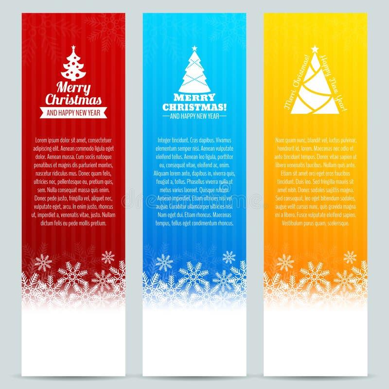 Conjunto de la bandera de la Navidad stock de ilustración