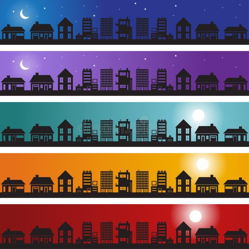 Conjunto de la bandera de las propiedades inmobiliarias ilustración del vector