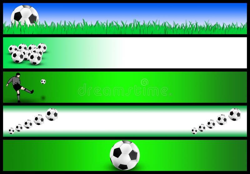 Conjunto de la bandera del fútbol ilustración del vector