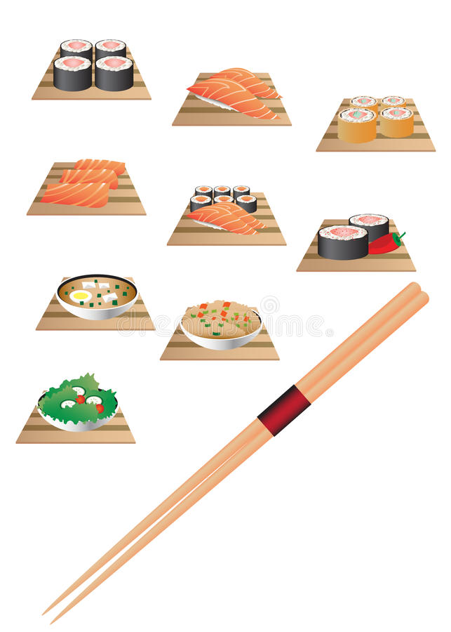 Conjunto de la barra del sushi libre illustration