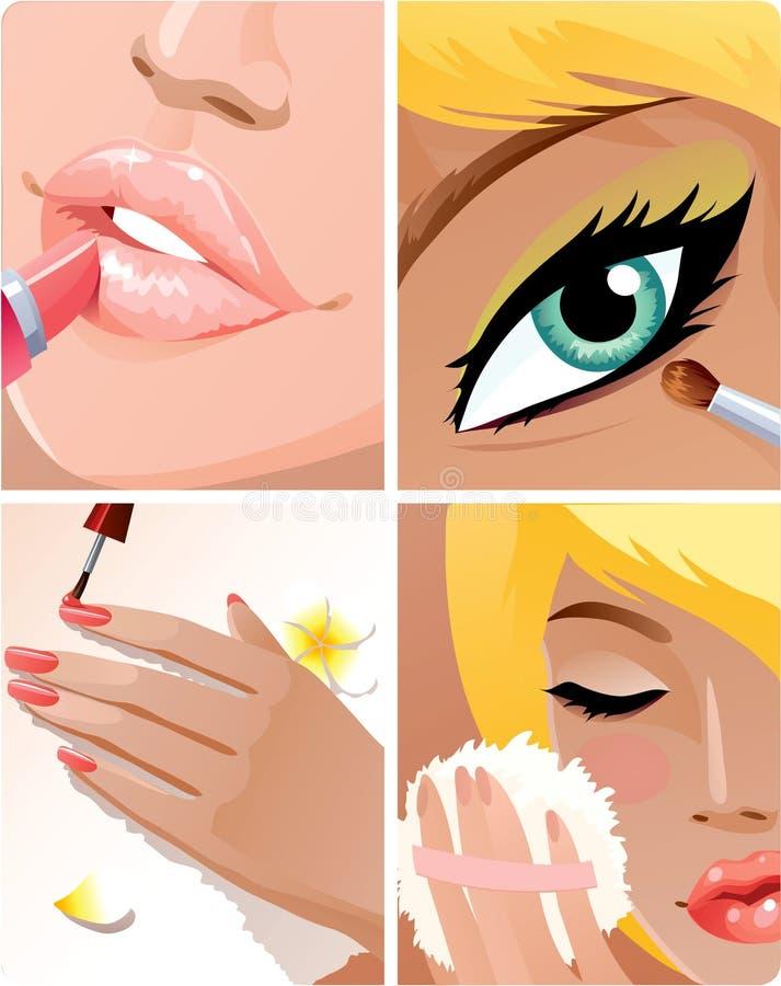 Conjunto de la belleza stock de ilustración