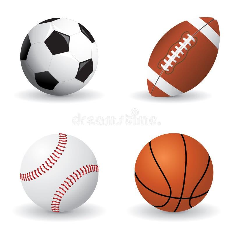 Conjunto de la bola de los deportes stock de ilustración