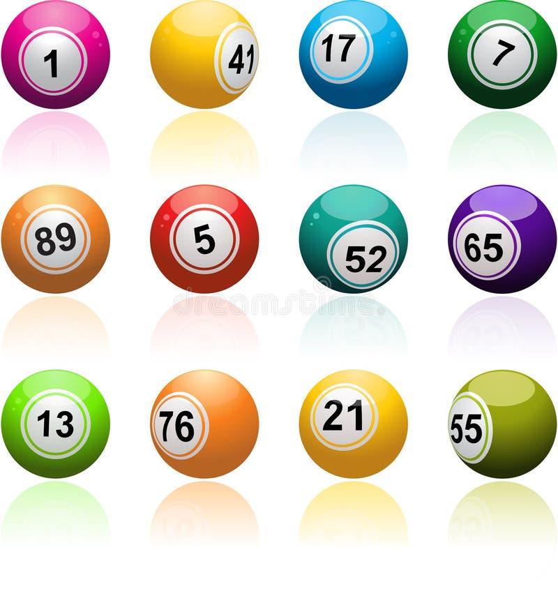 Conjunto de la bola del bingo stock de ilustración