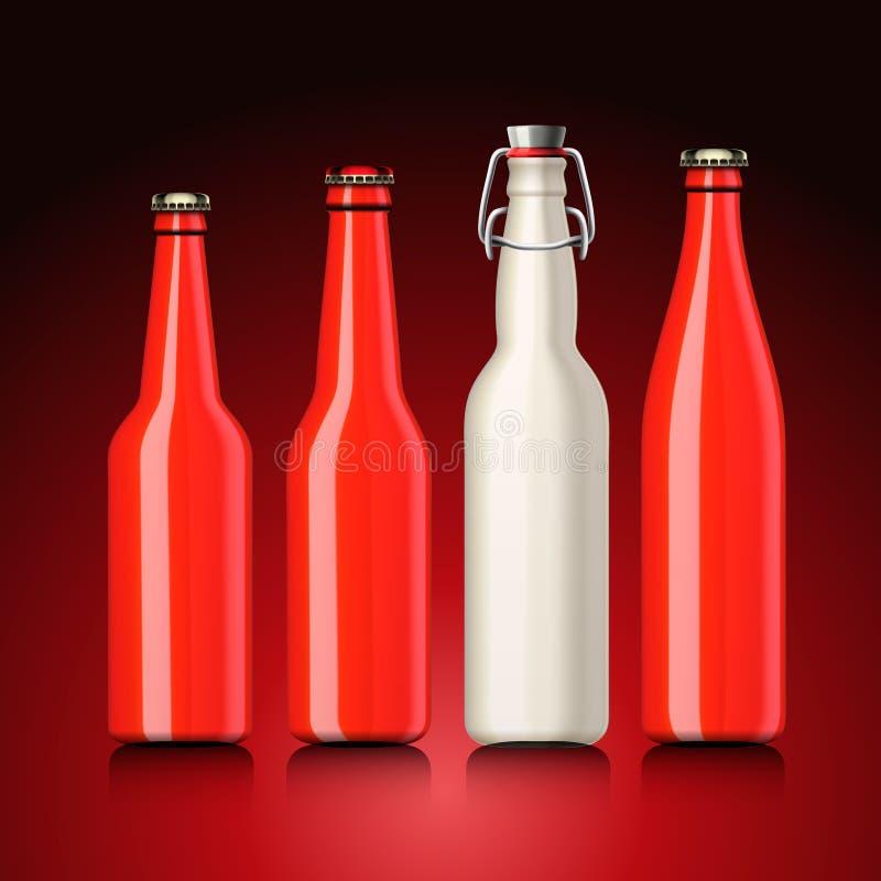 Conjunto de la botella de cerveza sin escritura de la etiqueta stock de ilustración