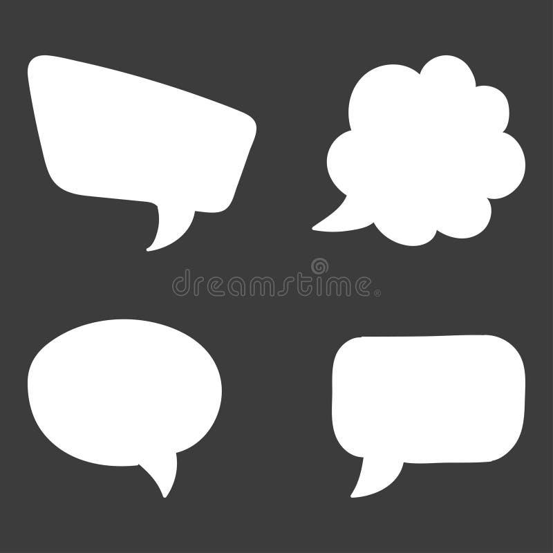 Conjunto de la burbuja del discurso Piense los símbolos de la nube Ilustración del vector stock de ilustración